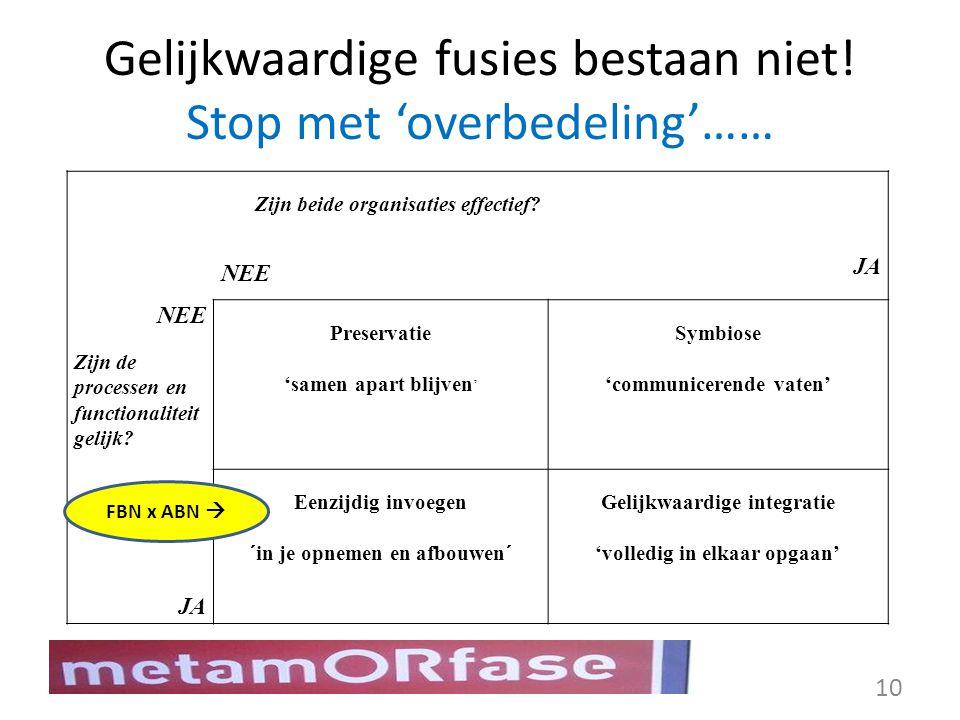 Gelijkwaardige fusies bestaan niet! Stop met 'overbedeling'……