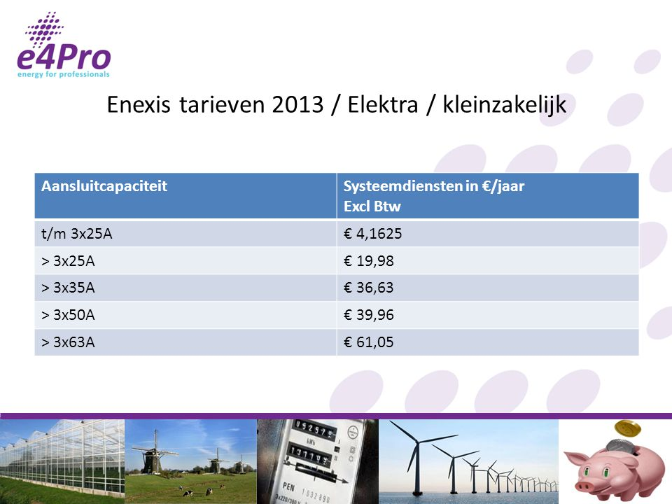 Enexis tarieven 2013 / Elektra / kleinzakelijk