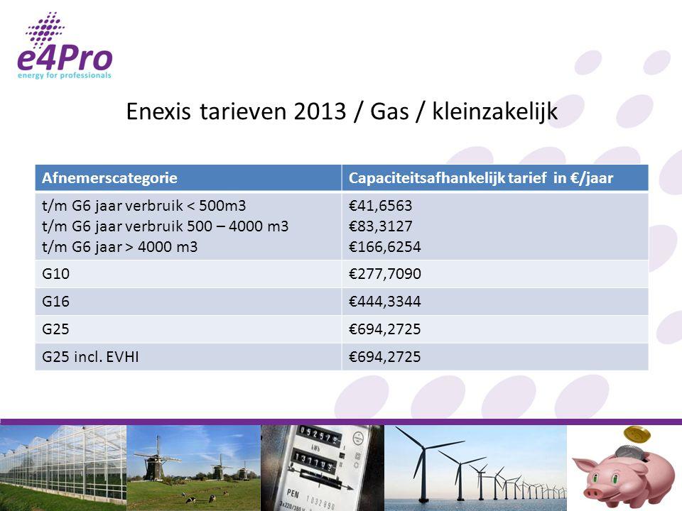 Enexis tarieven 2013 / Gas / kleinzakelijk