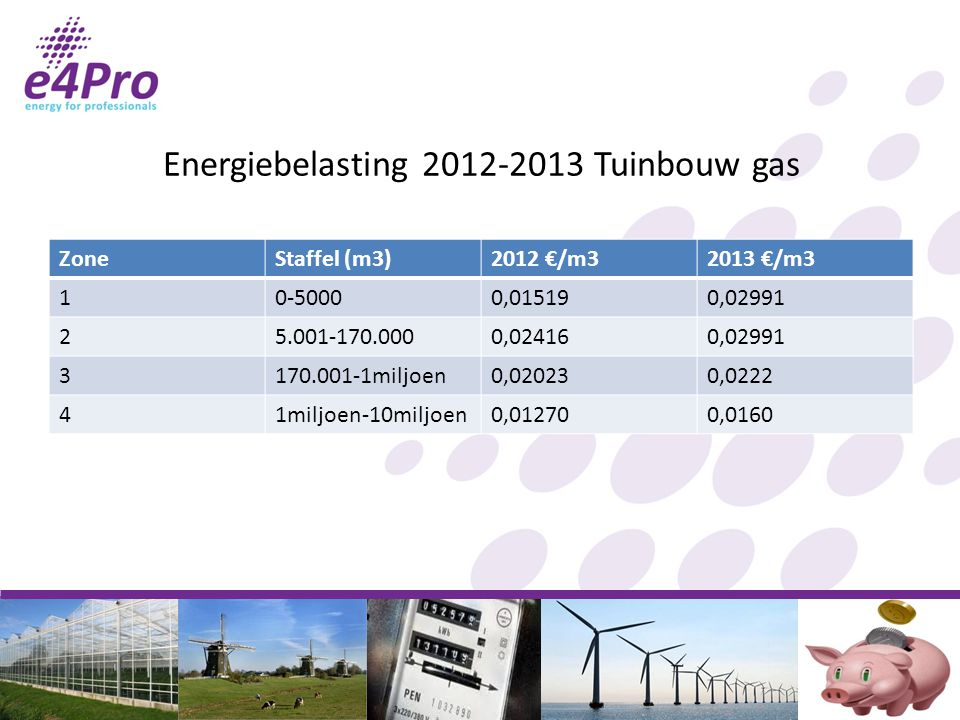 Energiebelasting 2012-2013 Tuinbouw gas