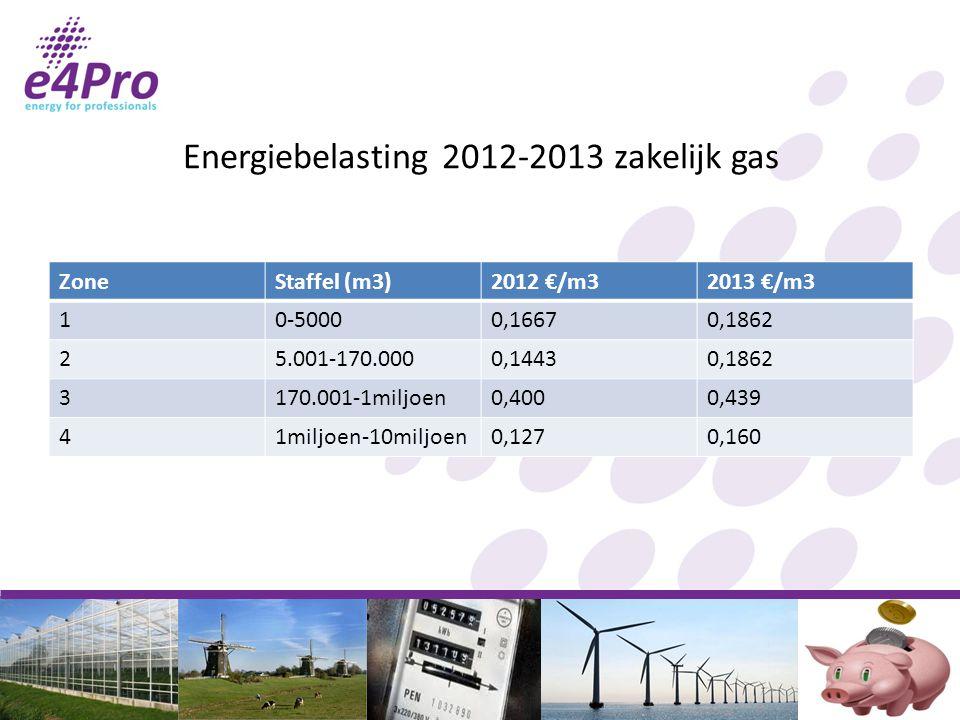 Energiebelasting 2012-2013 zakelijk gas