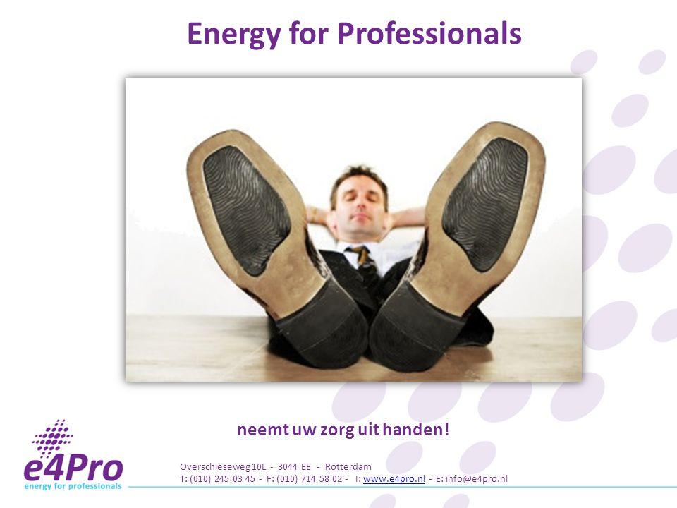 Energy for Professionals neemt uw zorg uit handen!