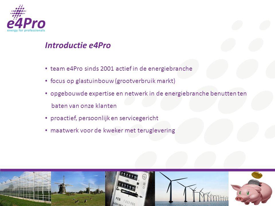 Introductie e4Pro team e4Pro sinds 2001 actief in de energiebranche