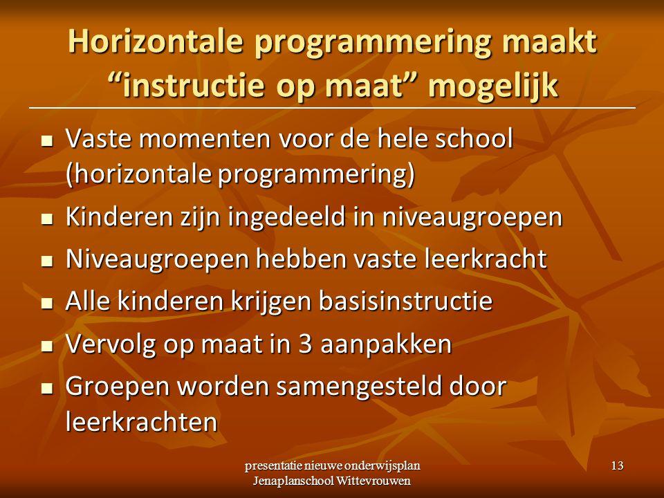 Horizontale programmering maakt instructie op maat mogelijk