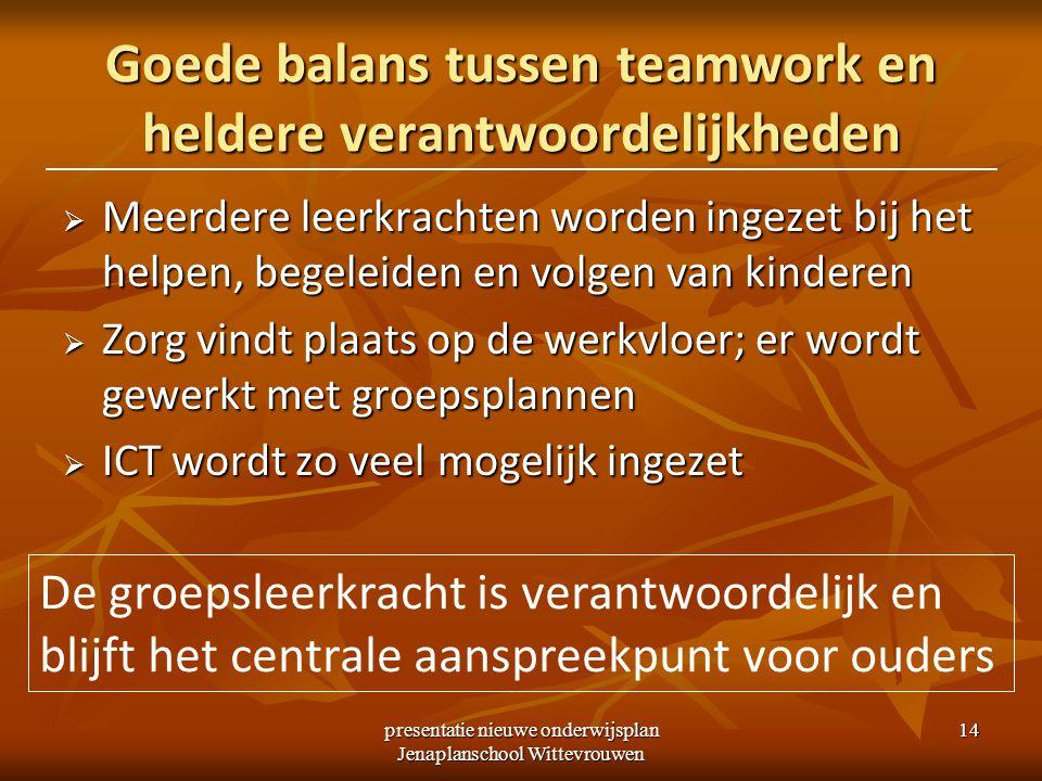 Goede balans tussen teamwork en heldere verantwoordelijkheden
