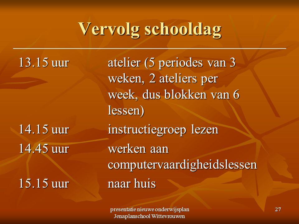 presentatie nieuwe onderwijsplan Jenaplanschool Wittevrouwen