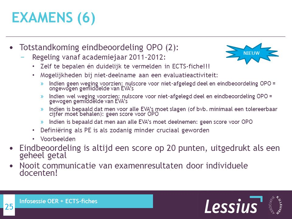EXAMENS (6) Totstandkoming eindbeoordeling OPO (2):