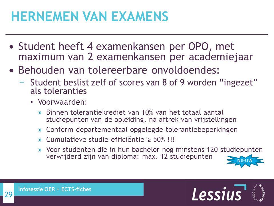 HERNEMEN VAN EXAMENS Student heeft 4 examenkansen per OPO, met maximum van 2 examenkansen per academiejaar.