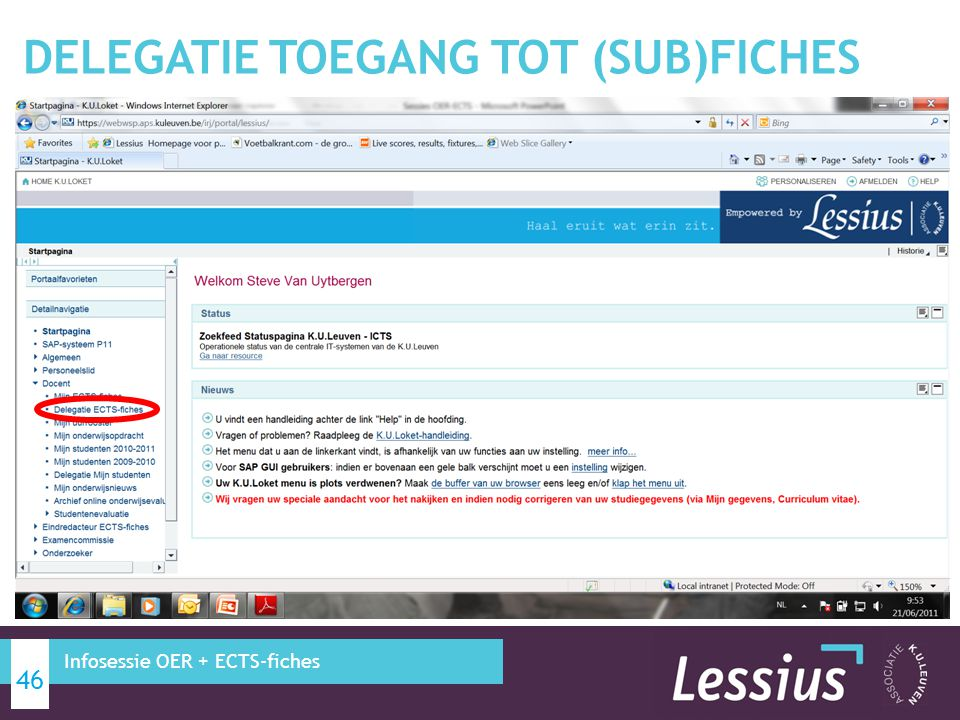 DELEGATIE TOEGANG TOT (SUB)FICHES