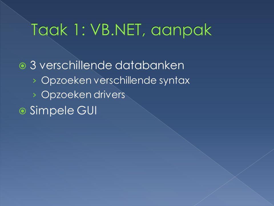 Taak 1: VB.NET, aanpak 3 verschillende databanken Simpele GUI