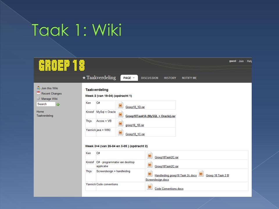 Taak 1: Wiki
