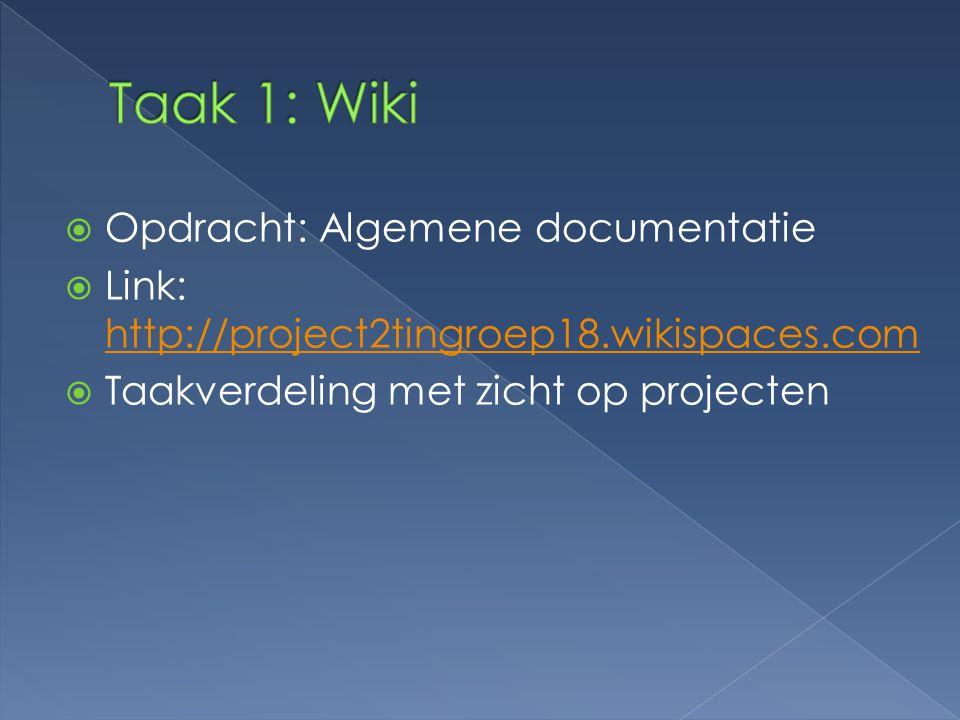 Taak 1: Wiki Opdracht: Algemene documentatie