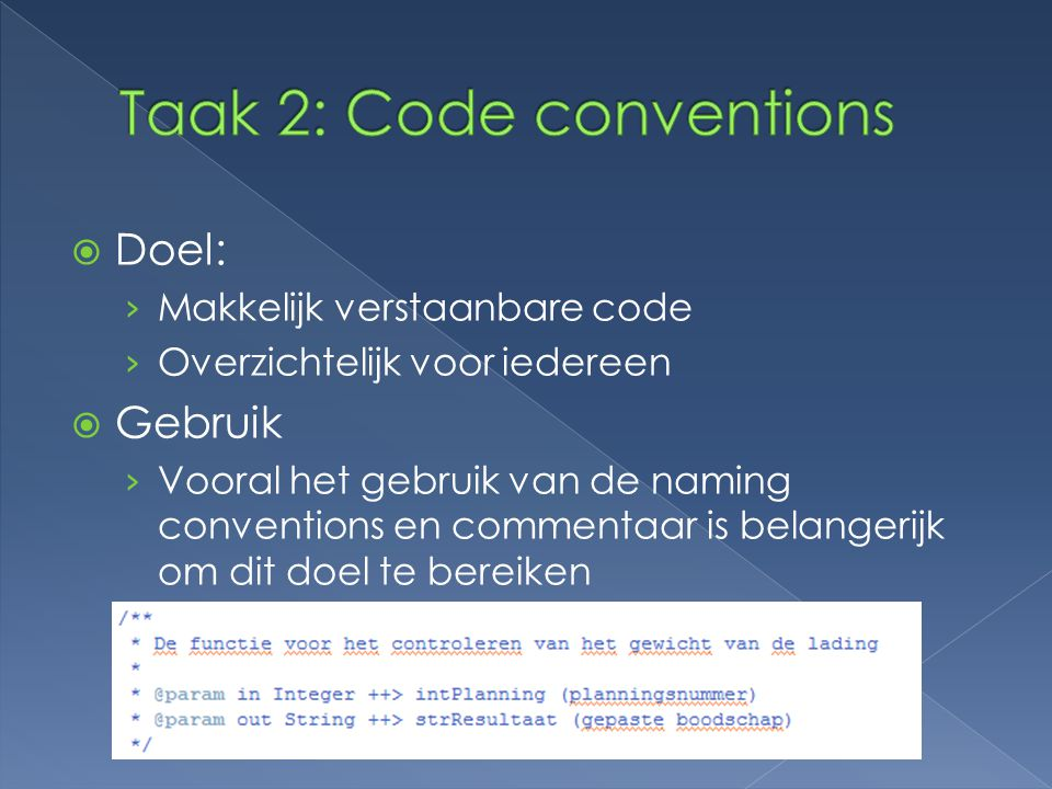 Taak 2: Code conventions