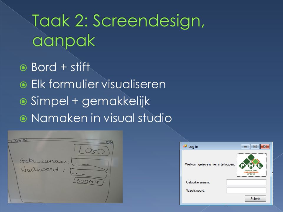 Taak 2: Screendesign, aanpak