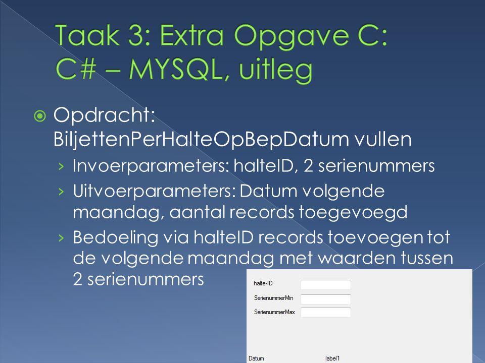 Taak 3: Extra Opgave C: C# – MYSQL, uitleg