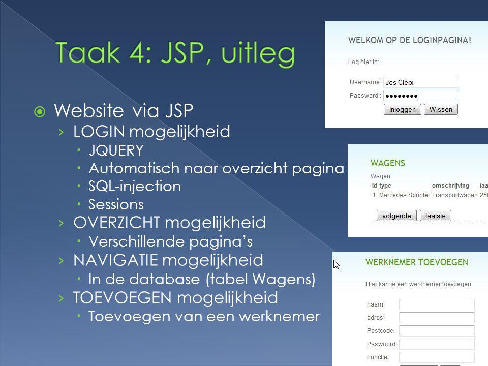 Taak 4: JSP, uitleg Website via JSP LOGIN mogelijkheid