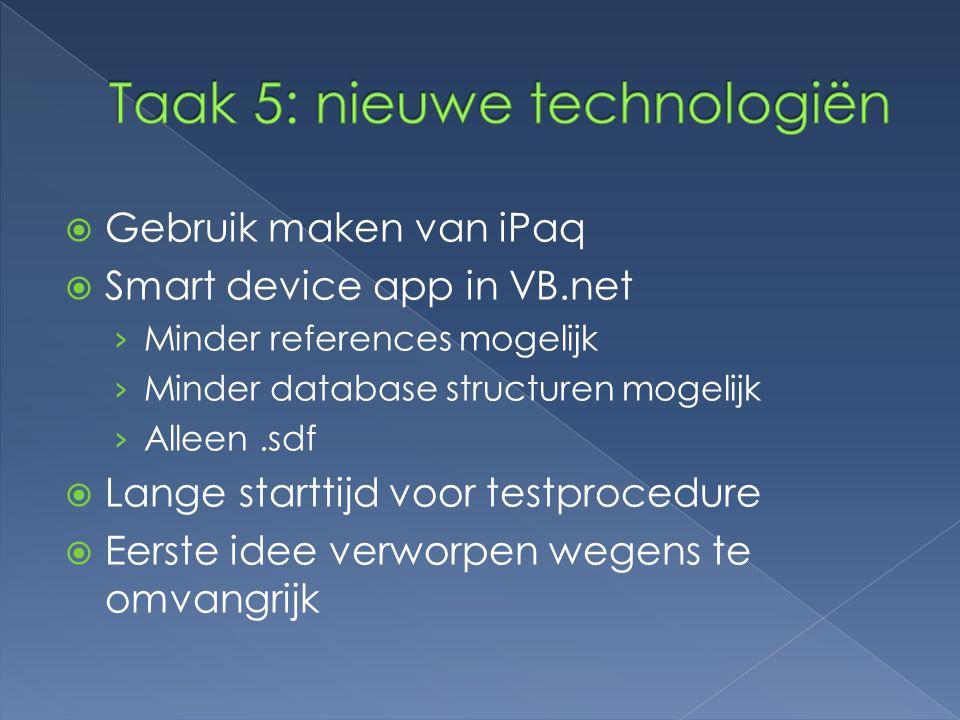 Taak 5: nieuwe technologiën
