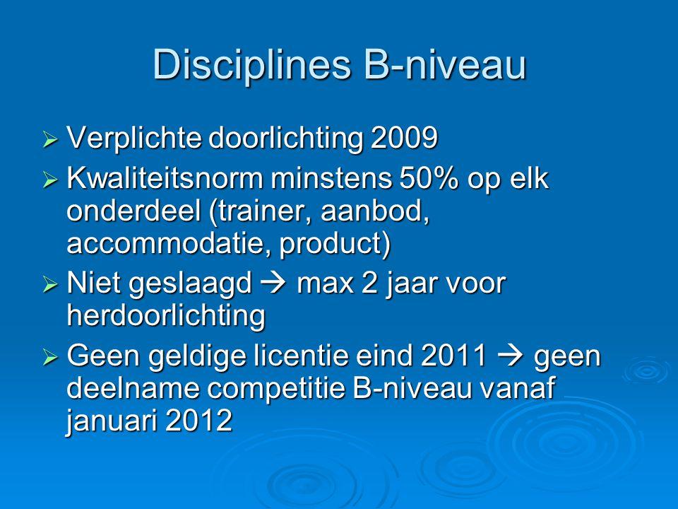 Disciplines B-niveau Verplichte doorlichting 2009