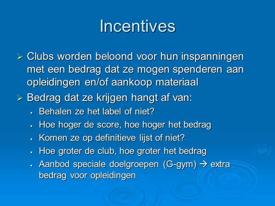 Incentives Clubs worden beloond voor hun inspanningen met een bedrag dat ze mogen spenderen aan opleidingen en/of aankoop materiaal.