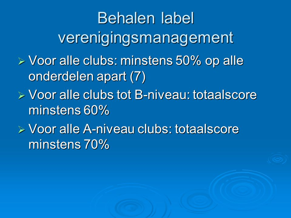 Behalen label verenigingsmanagement