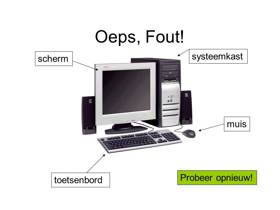 Oeps, Fout! systeemkast scherm muis Probeer opnieuw! toetsenbord