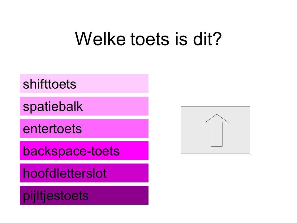 Welke toets is dit shifttoets spatiebalk entertoets backspace-toets