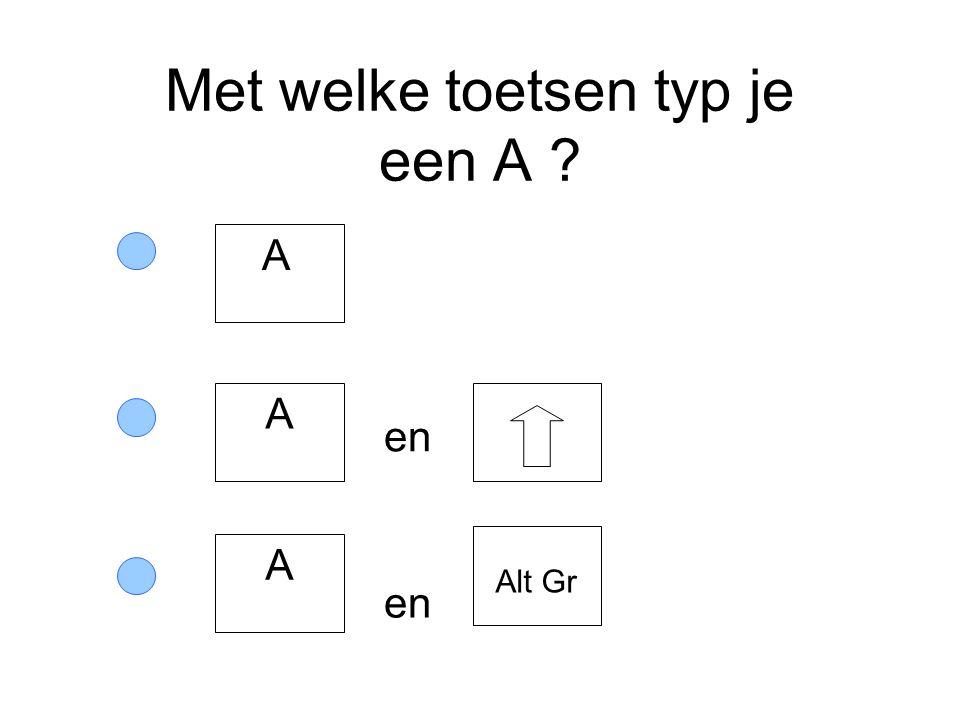 Met welke toetsen typ je een A