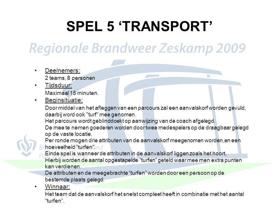 SPEL 5 'TRANSPORT' Deelnemers: 2 teams, 8 personen Tijdsduur: