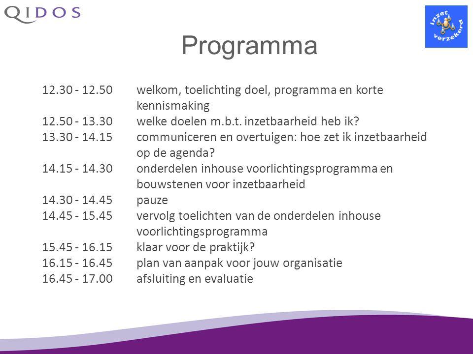 Programma 12.30 - 12.50 welkom, toelichting doel, programma en korte kennismaking. 12.50 - 13.30 welke doelen m.b.t. inzetbaarheid heb ik