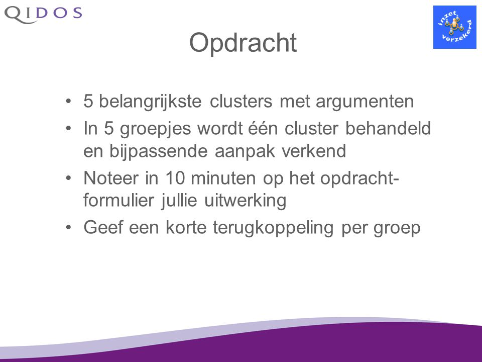 Opdracht 5 belangrijkste clusters met argumenten