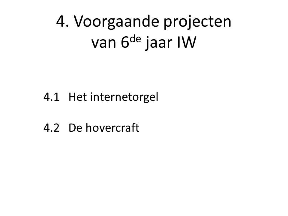 4. Voorgaande projecten van 6de jaar IW