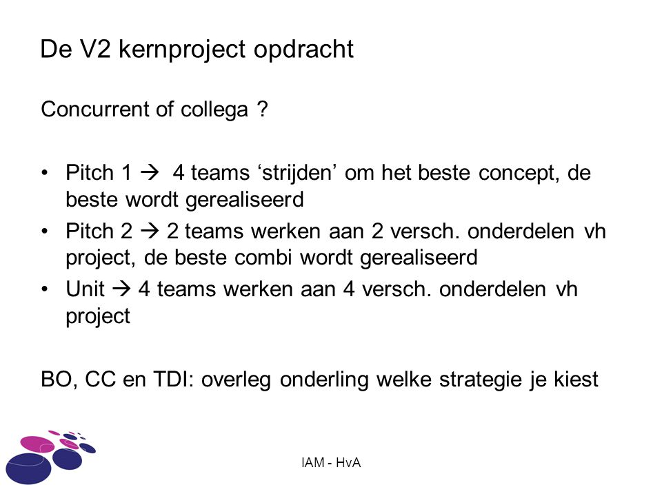 De V2 kernproject opdracht