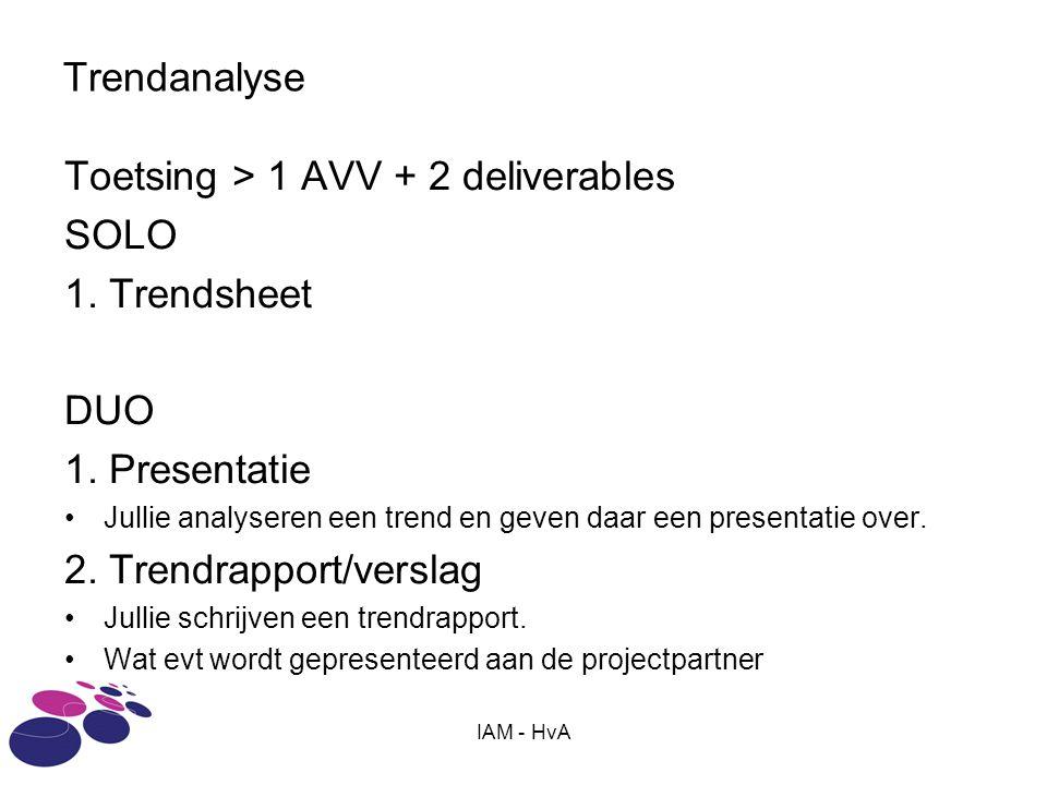 Toetsing > 1 AVV + 2 deliverables SOLO 1. Trendsheet DUO