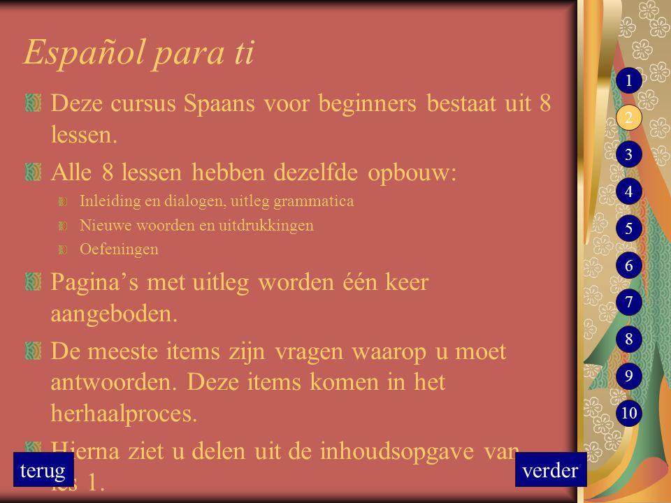 Español para ti 1. Deze cursus Spaans voor beginners bestaat uit 8 lessen. Alle 8 lessen hebben dezelfde opbouw: