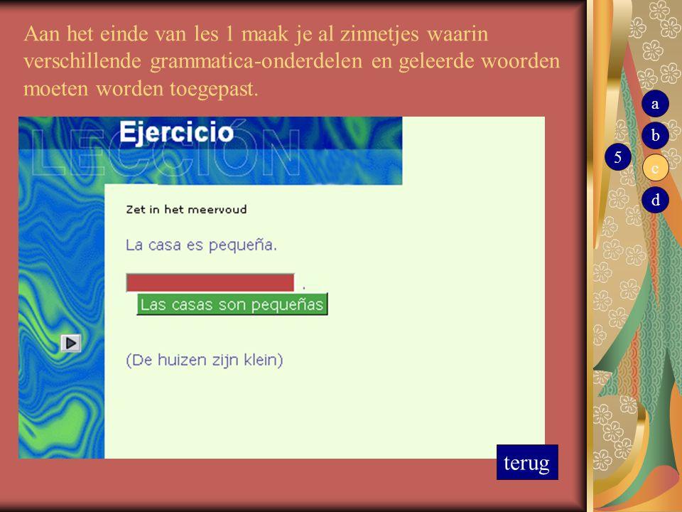 Aan het einde van les 1 maak je al zinnetjes waarin verschillende grammatica-onderdelen en geleerde woorden moeten worden toegepast.
