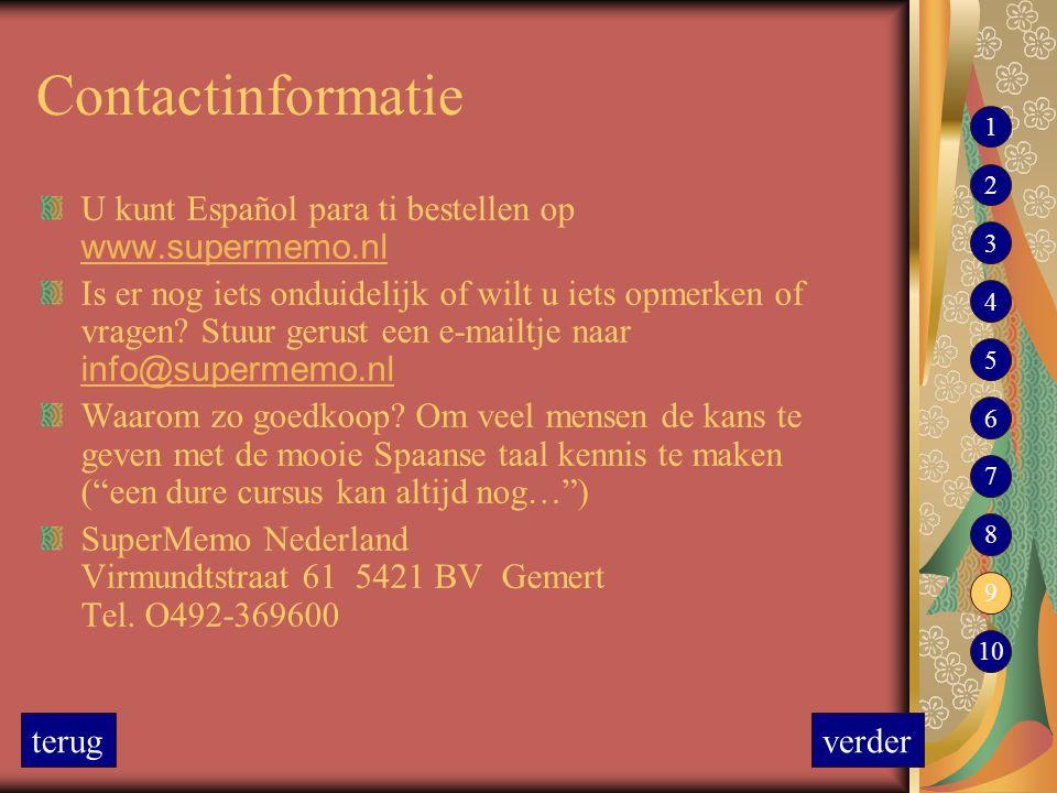 Contactinformatie 1. 2. U kunt Español para ti bestellen op www.supermemo.nl.