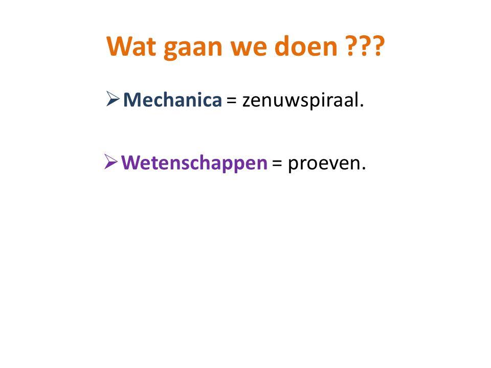 Wat gaan we doen Mechanica = zenuwspiraal.