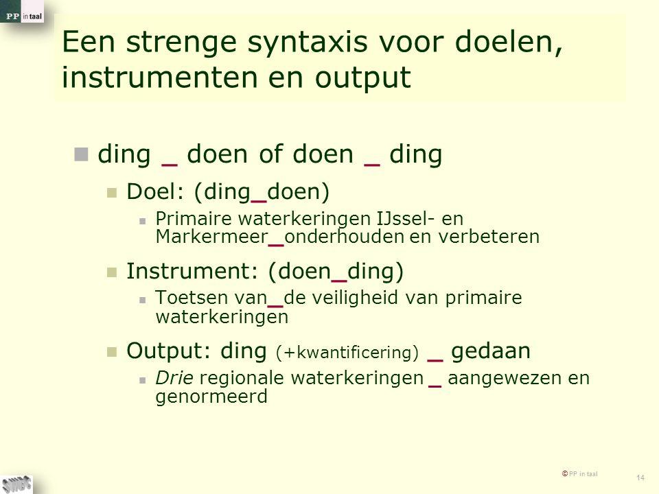 Een strenge syntaxis voor doelen, instrumenten en output
