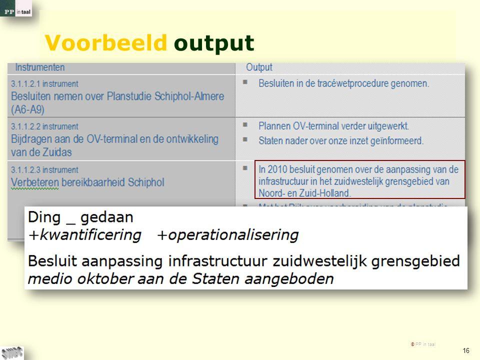 Voorbeeld output © PP in taal