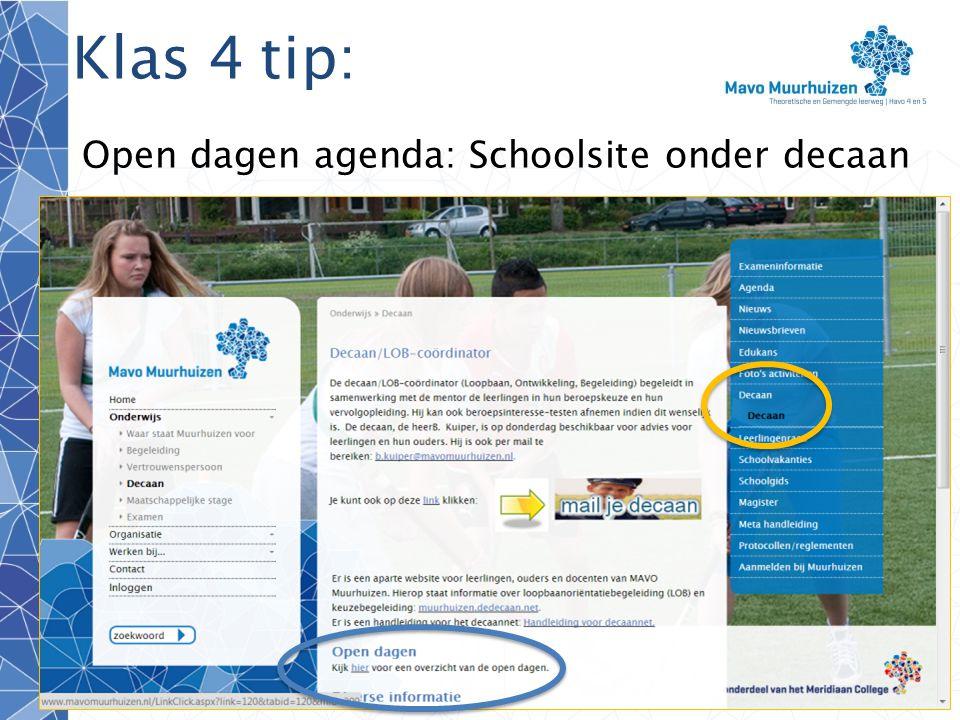 Open dagen agenda: Schoolsite onder decaan