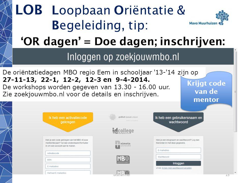 LOB Loopbaan Oriëntatie & Begeleiding, tip: