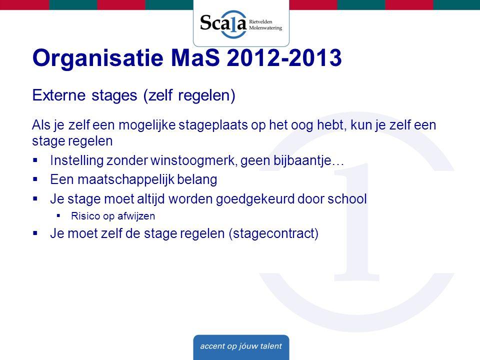 Organisatie MaS 2012-2013 Externe stages (zelf regelen)