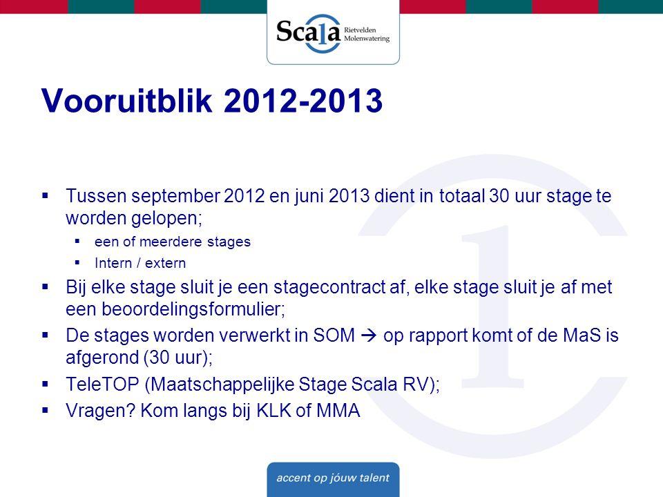 Vooruitblik 2012-2013 Tussen september 2012 en juni 2013 dient in totaal 30 uur stage te worden gelopen;