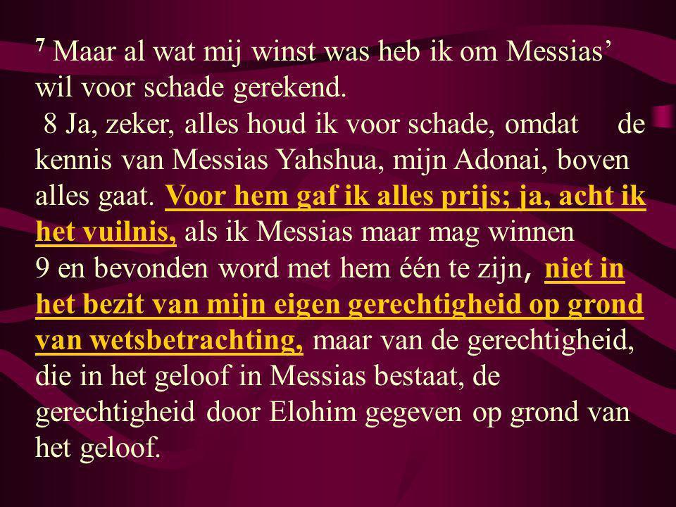 7 Maar al wat mij winst was heb ik om Messias' wil voor schade gerekend.