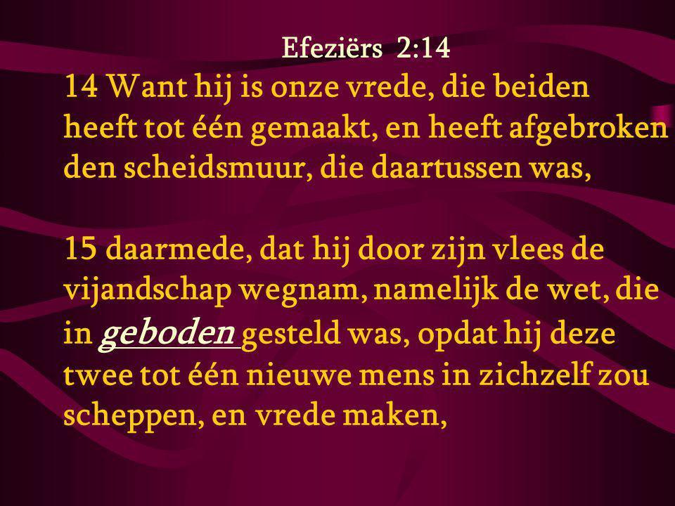 Efeziërs 2:14 14 Want hij is onze vrede, die beiden heeft tot één gemaakt, en heeft afgebroken den scheidsmuur, die daartussen was,