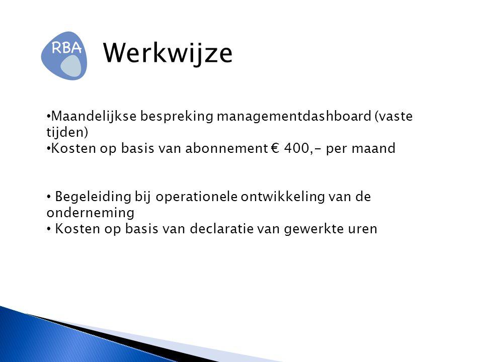 Werkwijze Maandelijkse bespreking managementdashboard (vaste tijden)