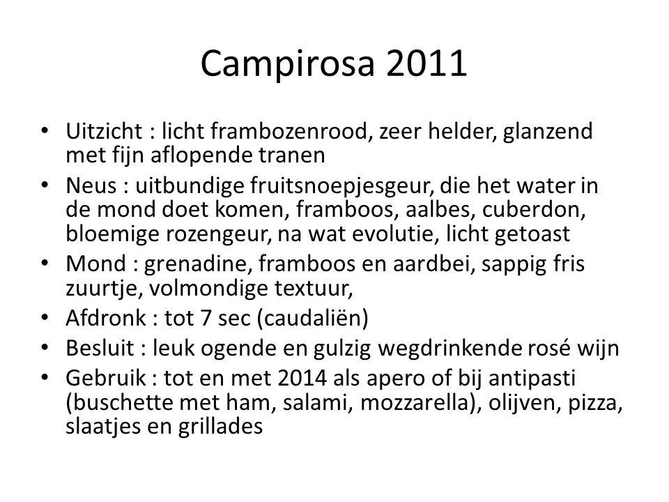 Campirosa 2011 Uitzicht : licht frambozenrood, zeer helder, glanzend met fijn aflopende tranen.
