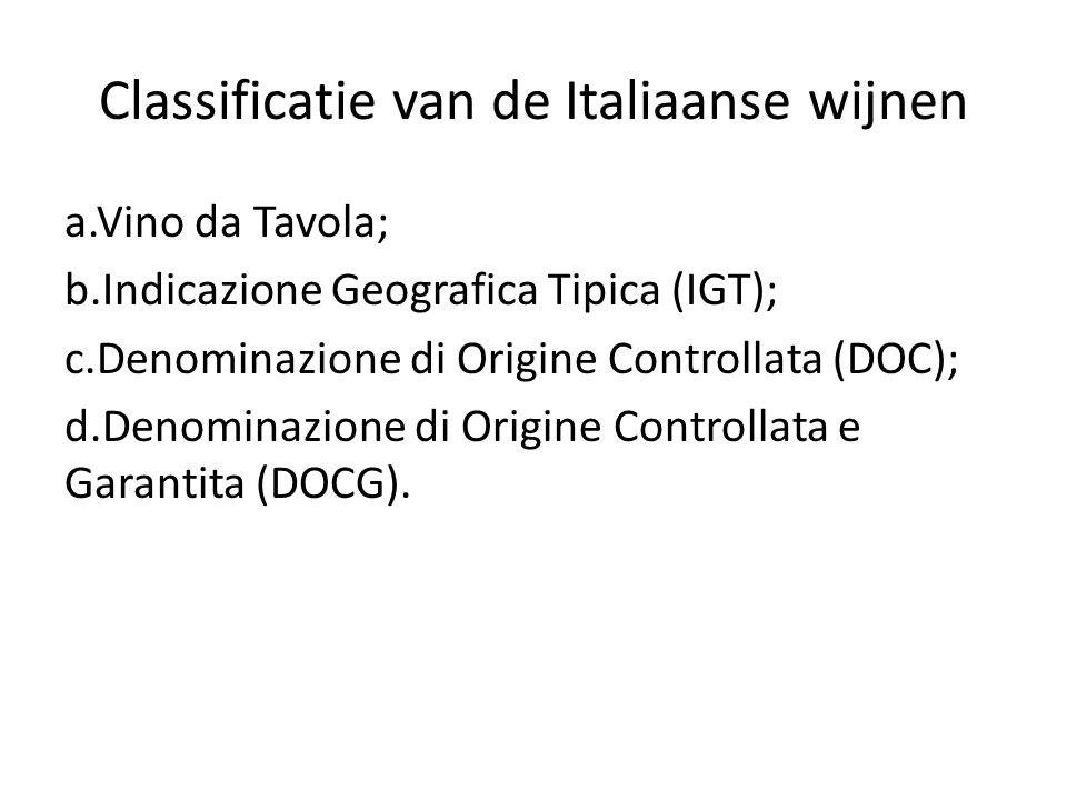 Classificatie van de Italiaanse wijnen