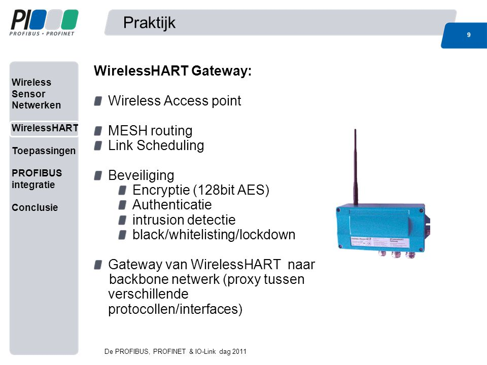 Praktijk WirelessHART Gateway: Wireless Access point MESH routing