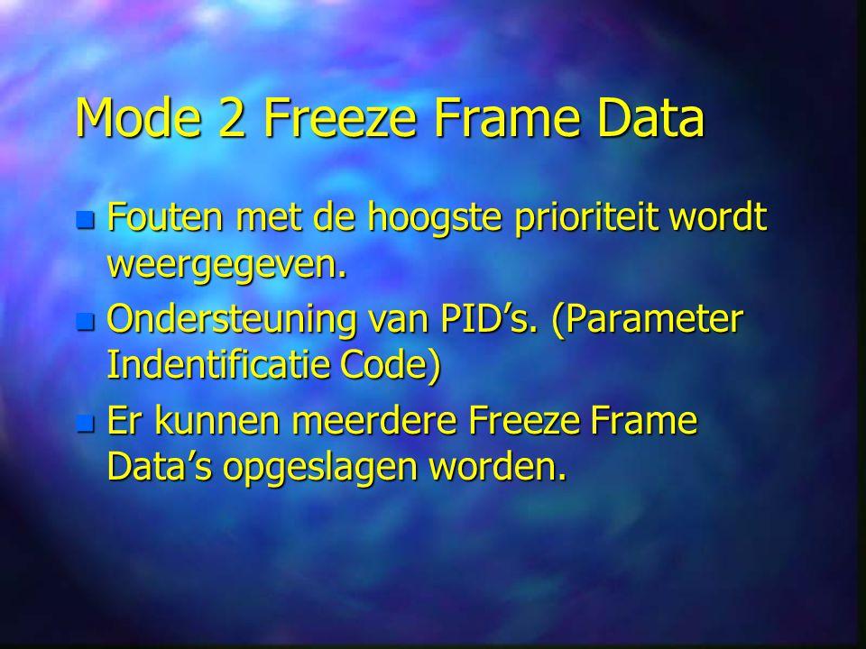 Mode 2 Freeze Frame Data Fouten met de hoogste prioriteit wordt weergegeven. Ondersteuning van PID's. (Parameter Indentificatie Code)